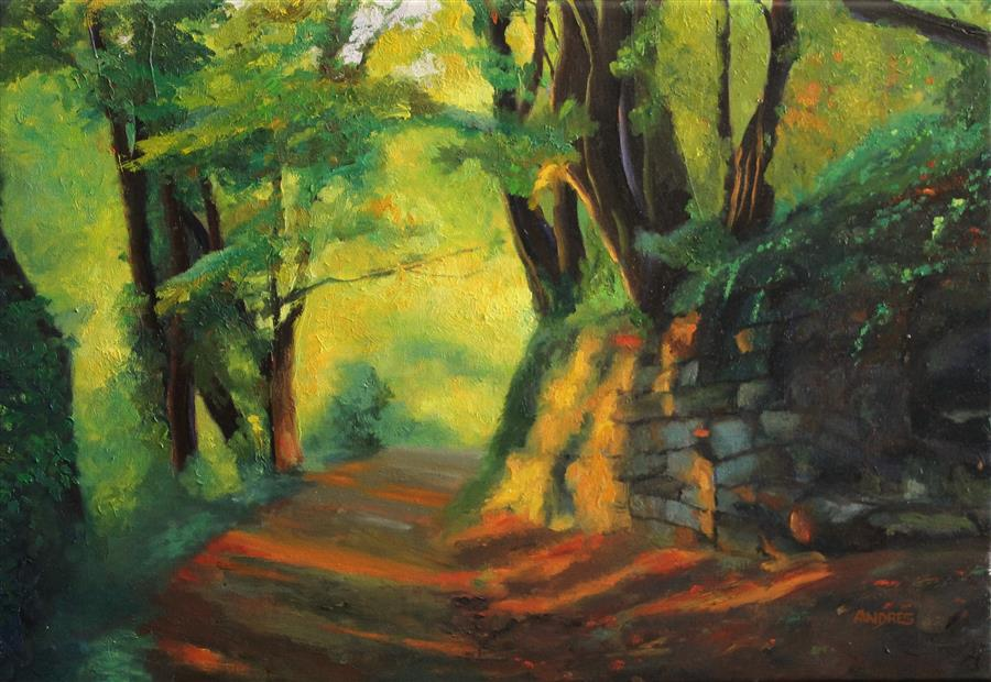 Original art for sale at UGallery.com | Path in the Forest by ANDRES LOPEZ | $475 |  | 11' h x 16' w | ..\art\oil-painting-Path-in-the-Forest
