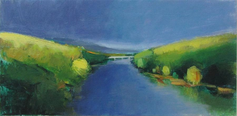 Original art for sale at UGallery.com | Bridge, Pennsylvania by JANET DYER | $550 | Acrylic painting | 10' h x 20' w | ..\art\acrylic-painting-Bridge-Pennsylvania