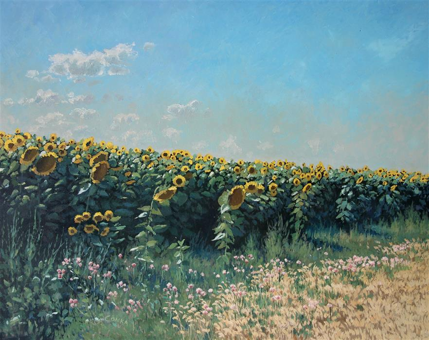 Original art for sale at UGallery.com | Midday Sunflowers by STEFAN CONKA | $1,675 |  | 25.7' h x 31.5' w | ..\art\oil-painting-Midday-Sunflowers