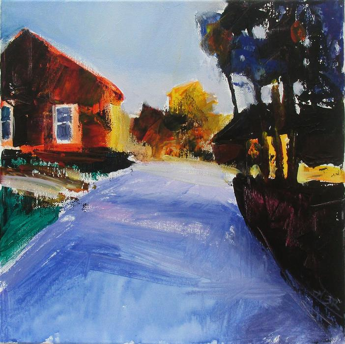 Original art for sale at UGallery.com | Orange House and Drive by JANET DYER | $525 |  | 12' h x 12' w | ..\art\acrylic-painting-Orange-House-and-Drive