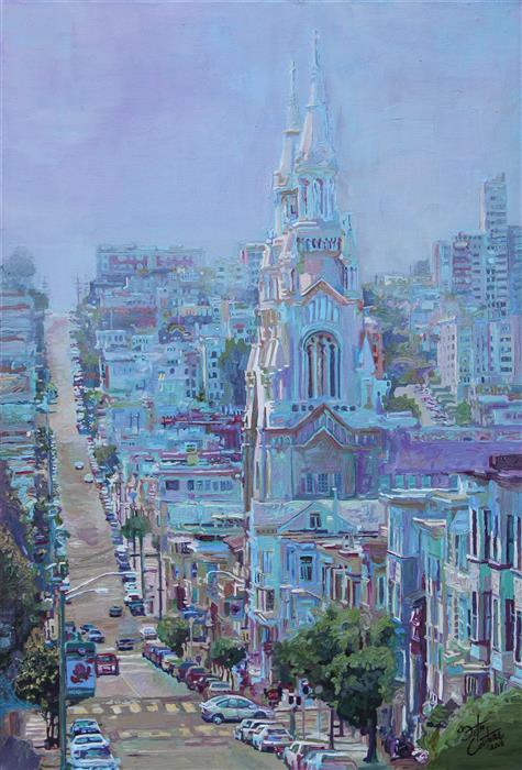 Original art for sale at UGallery.com | Saints Peter and Paul in Light Blue by SETH COUTURE | $775 | Acrylic painting | 24' h x 16' w | ..\art\acrylic-painting-Saints-Peter-and-Paul-in-Light-Blue