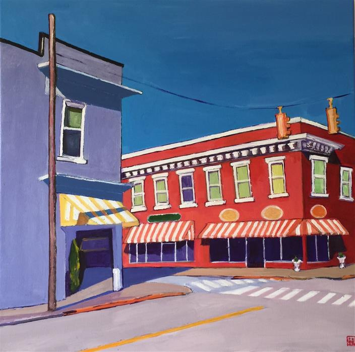 Original art for sale at UGallery.com | Downtown Apex by LAURA (YI ZHEN) CHEN | $825 | Acrylic painting | 24' h x 24' w | ..\art\acrylic-painting-Downtown-Apex