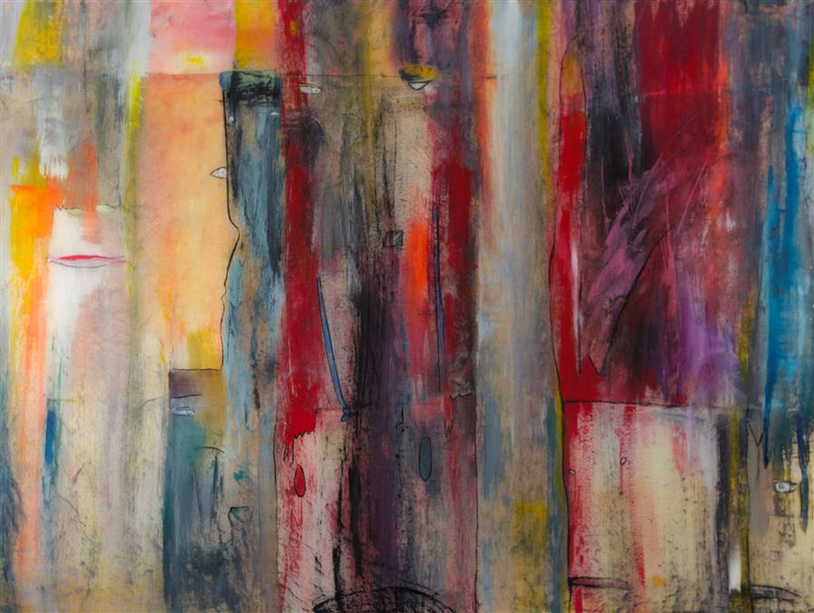 Original art for sale at UGallery.com | Sit-In by JILL CONCETTA | $1,675 |  | 36' h x 48' w | ..\art\mixed-media-artwork-Sit-In