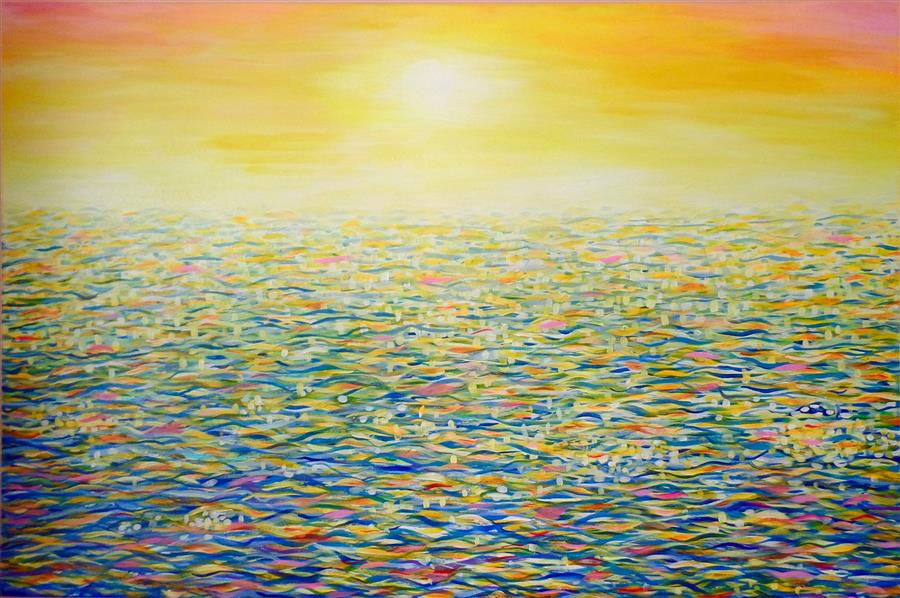 Original art for sale at UGallery.com | Sun on the Ocean by NATASHA TAYLES | $875 | Acrylic painting | 24' h x 36' w | ..\art\acrylic-painting-Sun-on-the-Ocean