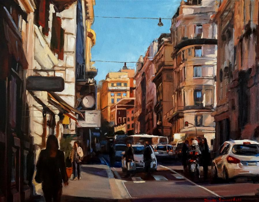 Original art for sale at UGallery.com | Busy Street in Rome by JONELLE SUMMERFIELD | $1,500 |  | 24' h x 30' w | ..\art\oil-painting-Busy-Street-in-Rome
