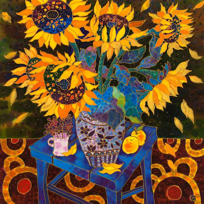 Original art for sale at UGallery.com | Still Life with Sunflowers by YELENA SIDOROVA | $1,000 |  | 24' h x 24' w | ..\art\mixed-media-artwork-Still-Life-with-Sunflowers