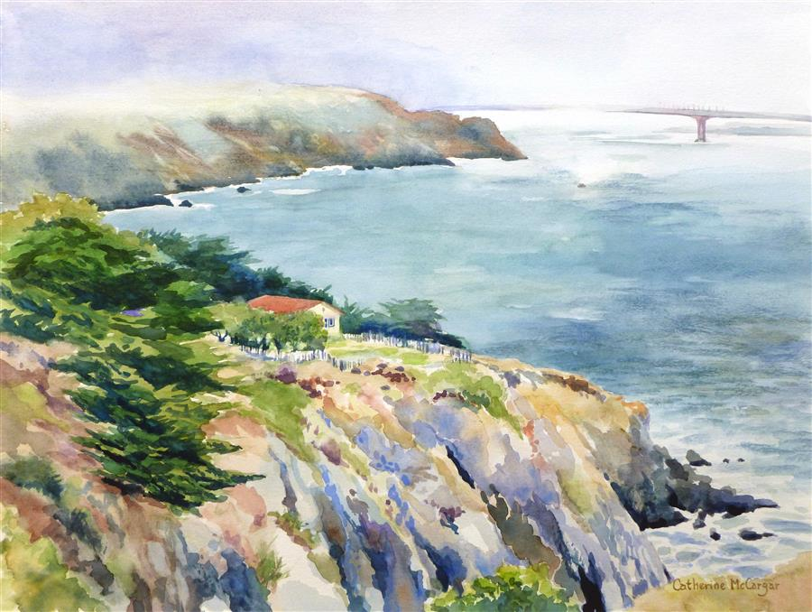 Original art for sale at UGallery.com | View from Point Bonita by Catherine McCargar | $650 | watercolor painting | 12' h x 16' w | ..\art\watercolor-painting-View-from-Point-Bonita