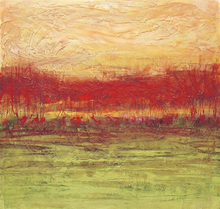 Original art for sale at UGallery.com | Crimson and Clover by VALERIE BERKELY | $325 | Oil painting | 12' h x 12' w | ..\art\oil-painting-Crimson-and-Clover