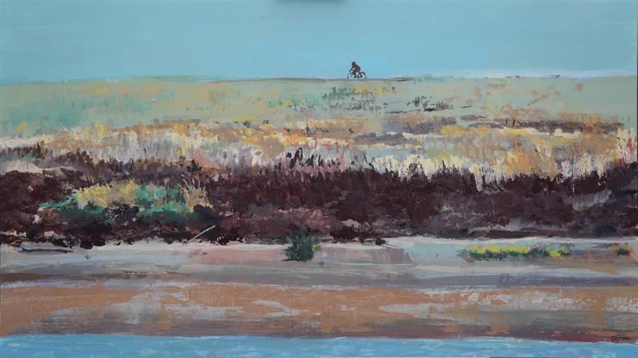 Original art for sale at UGallery.com | Levee by SIDONIE CARON | $4,750 |  | 24' h x 41' w | ..\art\acrylic-painting-Levee