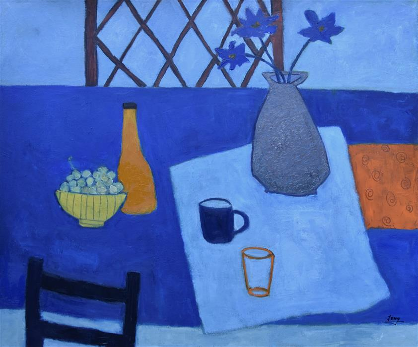 Original art for sale at UGallery.com | Blue Still Life by FENG BIDDLE | $1,700 |  | 30' h x 36' w | ..\art\oil-painting-Blue-Still-Life