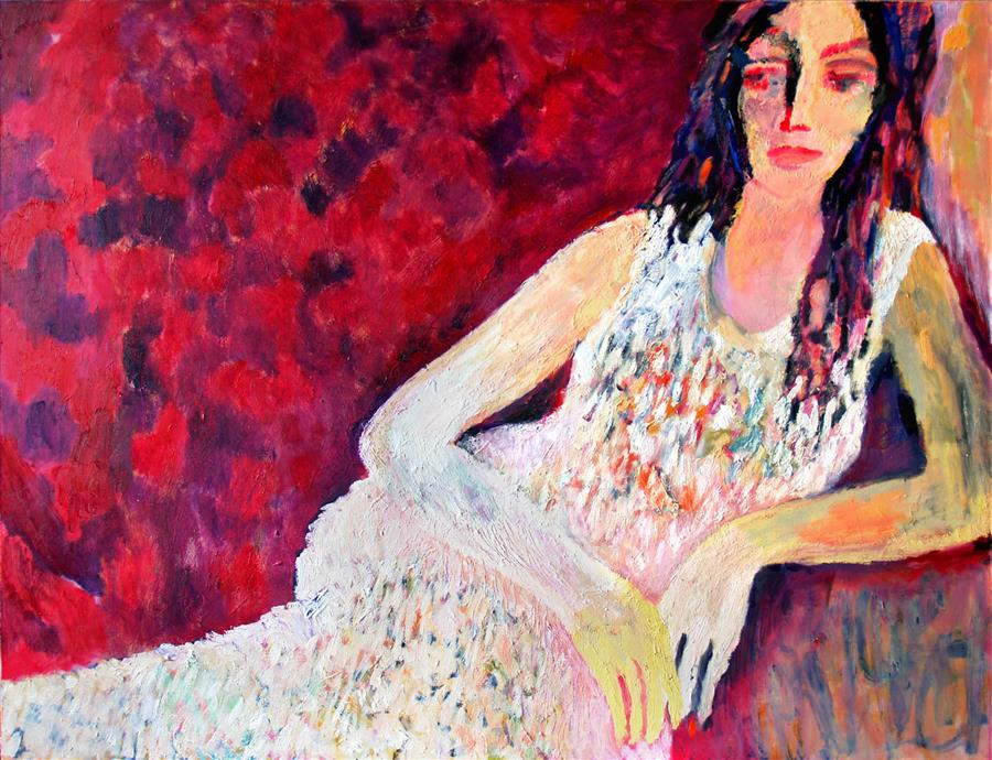 Original art for sale at UGallery.com | Woman in White by Petr Ldin | $2,650 | oil painting | 39.3' h x 55.1' w | ..\art\oil-painting-Woman-in-White