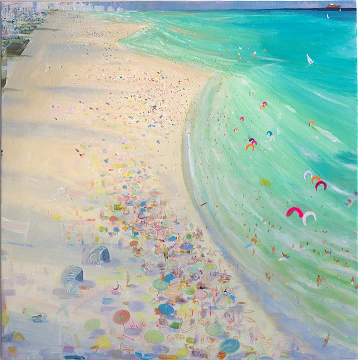 Original art for sale at UGallery.com | White Beach by JOE DAVIS | $2,600 | Acrylic painting | 30' h x 30' w | ..\art\acrylic-painting-White-Beach