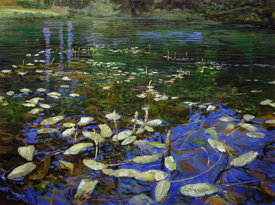 Original art for sale at UGallery.com | Trumbull Lake Shallows by ONELIO MARRERO | $875 |  | 18' h x 24' w | ..\art\oil-painting-Trumbull-Lake-Shallows