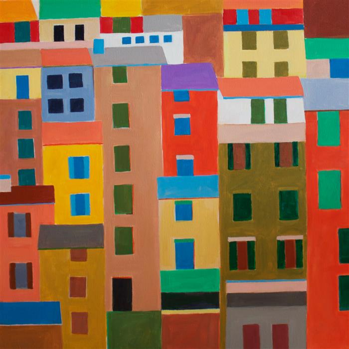 Original art for sale at UGallery.com | Cinque Terre Houses by TONI SILBER-DELERIVE | $2,000 |  | 30' h x 30' w | ..\art\acrylic-painting-Cinque-Terre-Houses