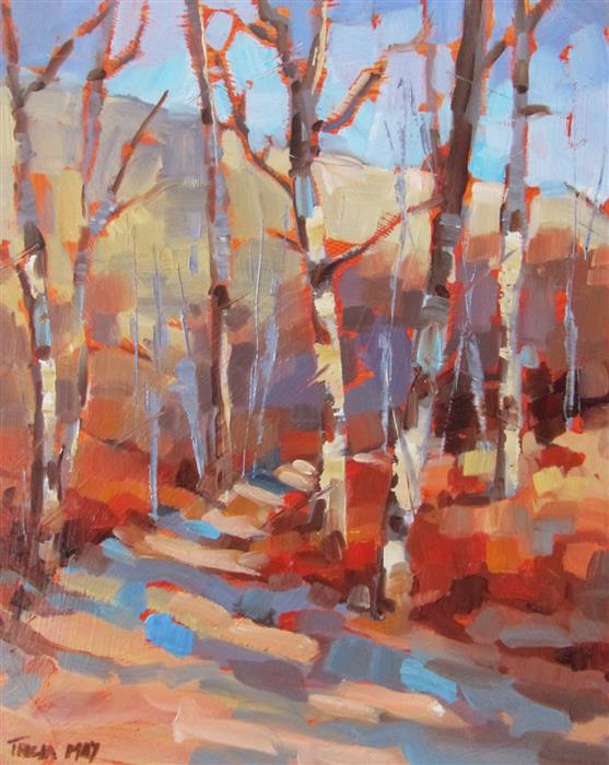 Original art for sale at UGallery.com | On the Path by TRICIA MAY | $350 |  | 10' h x 8' w | ..\art\oil-painting-On-the-Path-46466