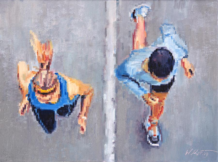 Original art for sale at UGallery.com | Couple Running Together by Warren Keating | $975 | oil painting | 12' h x 16' w | ..\art\oil-painting-Couple-Running-Together
