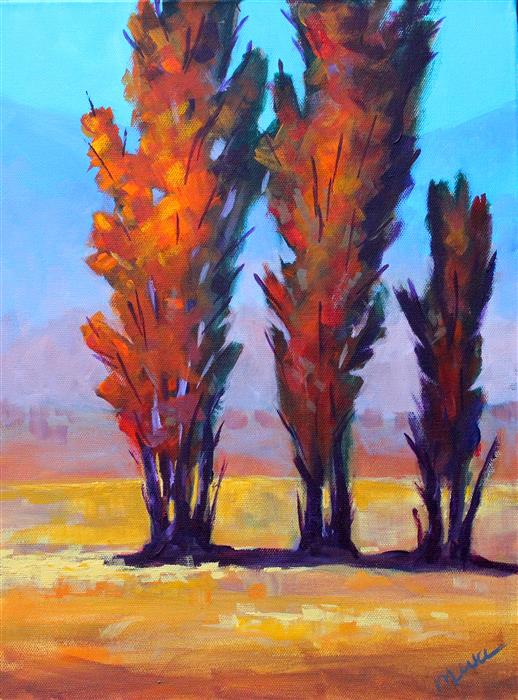 Original art for sale at UGallery.com | Autumn Trio by NANCY MERKLE | $400 | Acrylic painting | 16' h x 12' w | ..\art\acrylic-painting-Autumn-Trio