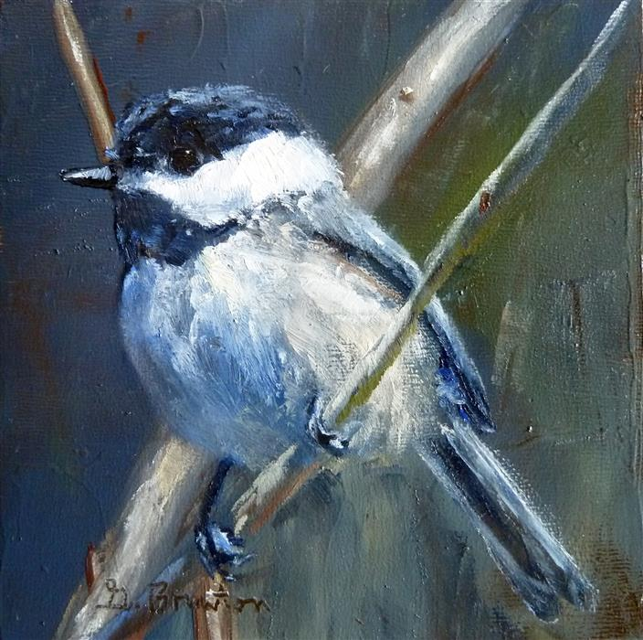 Original art for sale at UGallery.com | Chickadee, Softly Lit by GARY BRUTON | $225 |  | 4' h x 4' w | ..\art\oil-painting-Chickadee-Softly-Lit