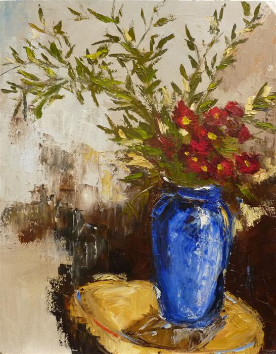Original art for sale at UGallery.com | Bamboo Leaves and Blue Vase by JUDY MACKEY | $1,500 |  | 30' h x 24' w | ..\art\oil-painting-Bamboo-Leaves-and-Blue-Vase