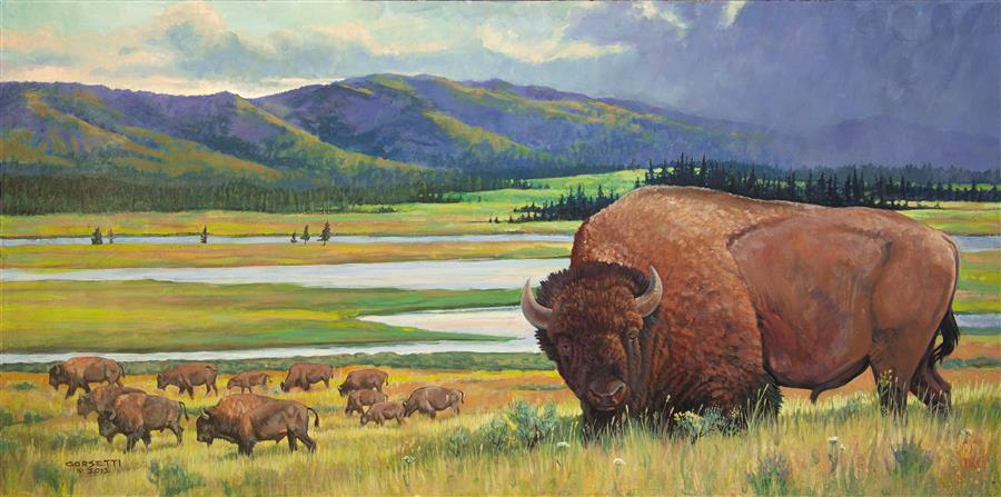 Original art for sale at UGallery.com | Yellowstone Bison by ROBERT CORSETTI | $2,925 |  | 24' h x 48' w | ..\art\oil-painting-Yellowstone-Bison