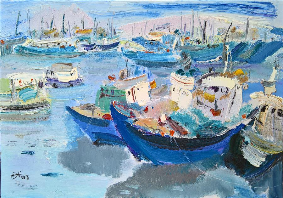 Original art for sale at UGallery.com | Boats in the Port by YI TIAN | $1,400 |  | 26' h x 32' w | ..\art\oil-painting-Boats-in-the-Port
