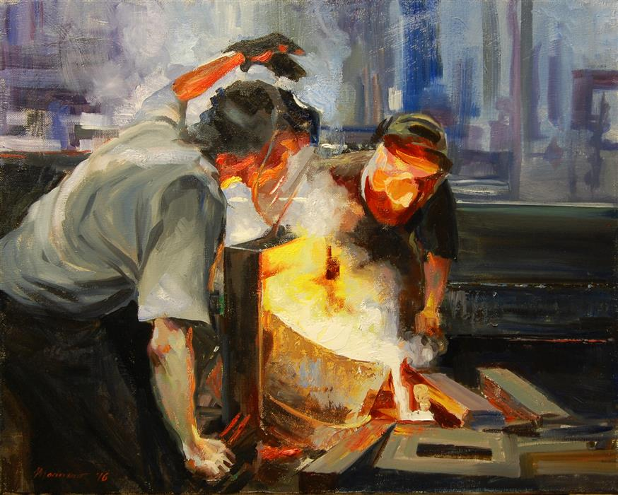 Original art for sale at UGallery.com | Guiding the Pour by ONELIO MARRERO | $900 | Oil painting | 16' h x 20' w | ..\art\oil-painting-Guiding-the-Pour