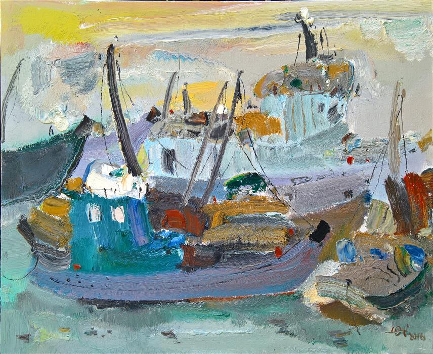 Original art for sale at UGallery.com | Boats in the Port 3 by YI TIAN | $1,150 | Oil painting | 20' h x 24' w | ..\art\oil-painting-Boats-in-the-Port-3