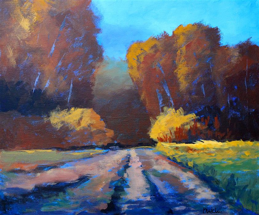 Original art for sale at UGallery.com | Autumn Trek by Nancy Merkle | $850 | acrylic painting | 20' h x 24' w | ..\art\acrylic-painting-Autumn-Trek