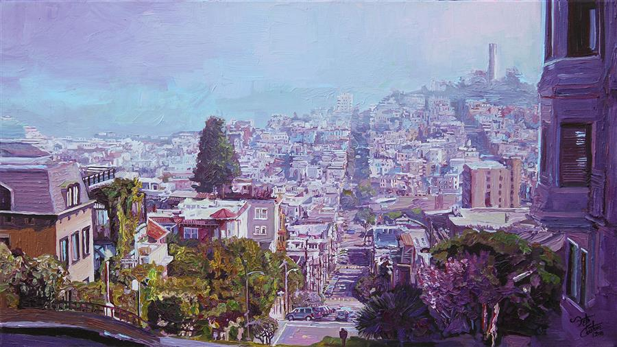 Original art for sale at UGallery.com | Magenta Morning from Lombard St by SETH COUTURE | $1,100 | Acrylic painting | 16' h x 28' w | ..\art\acrylic-painting-Magenta-Morning-from-Lombard-St