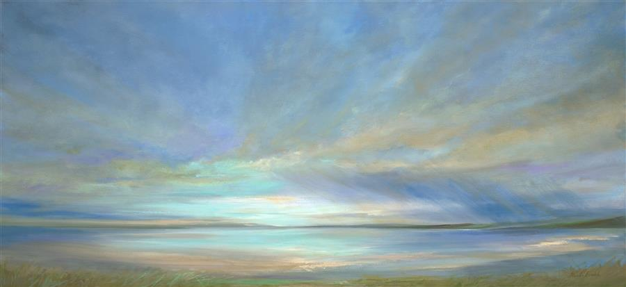 Original art for sale at UGallery.com | Glow on the Bay by SHEILA FINCH | $4,025 | Oil painting | 22.25' h x 48' w | ..\art\oil-painting-Glow-on-the-Bay