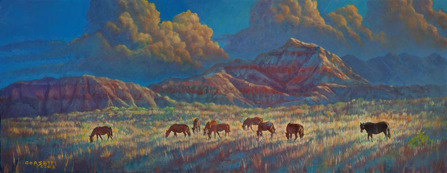 Original art for sale at UGallery.com | Painted Desert Painted Horses by ROBERT CORSETTI | $1,650 | Acrylic painting | 16.5' h x 44' w | ..\art\acrylic-painting-Painted-Desert-Painted-Horses