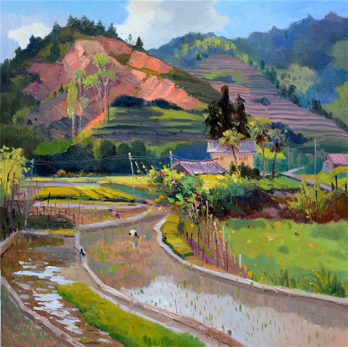 Original art for sale at UGallery.com | Chinese Rural Village 2 by SHENGNAN LI | $1,100 | Oil painting | 32' h x 32' w | ..\art\oil-painting-Chinese-Rural-Village-2