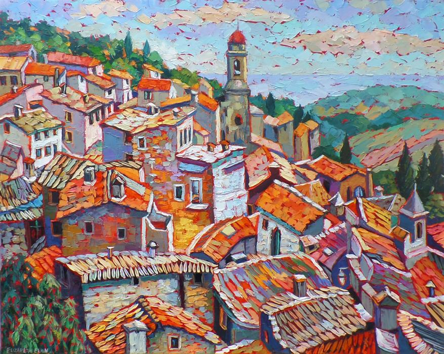Original art for sale at UGallery.com | Rooftops, Provence by ELIZABETH ELKIN | $2,100 | Oil painting | 24' h x 30' w | ..\art\oil-painting-Rooftops-Provence