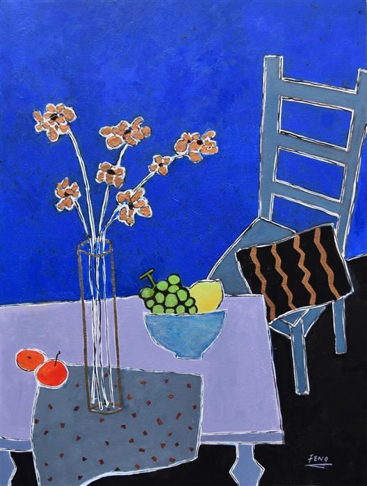 Original art for sale at UGallery.com | Still Life in Blue Room by FENG BIDDLE | $1,900 |  | 40' h x 30' w | ..\art\mixed-media-artwork-Still-Life-in-Blue-Room