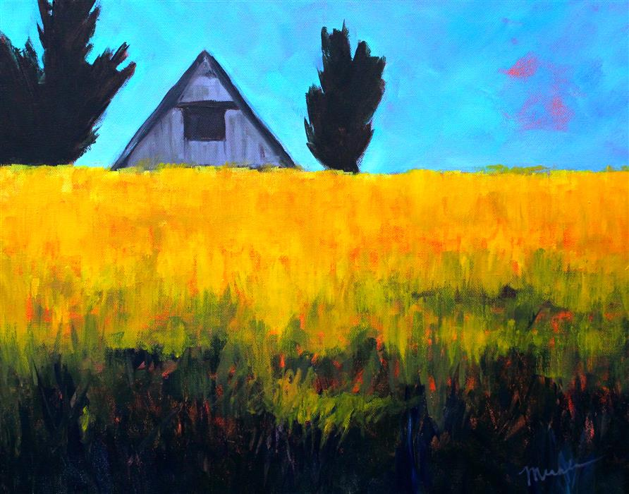 Original art for sale at UGallery.com | Golden Field by NANCY MERKLE | $675 | Acrylic painting | 16' h x 20' w | ..\art\acrylic-painting-Golden-Field