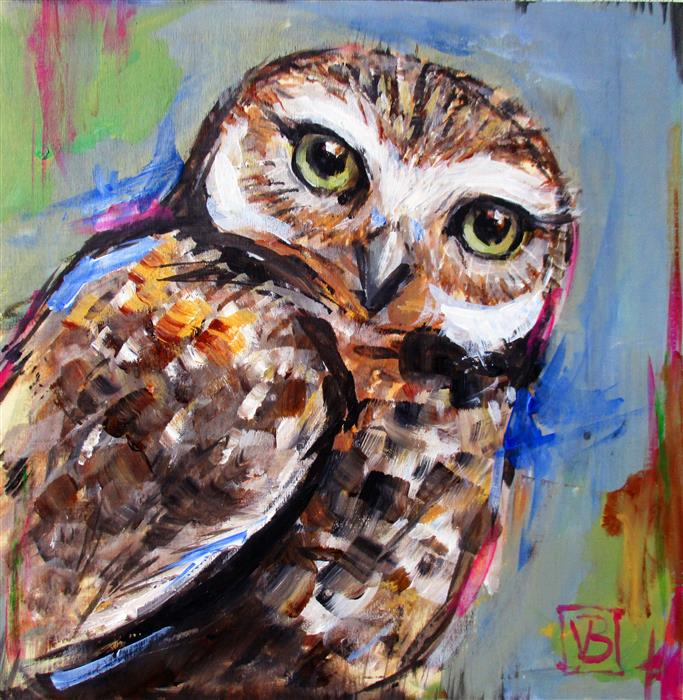 Original art for sale at UGallery.com | Burrowing Owl by VICTORIA BEARDEN | $325 |  | 10' h x 10' w | ..\art\acrylic-painting-Burrowing-Owl