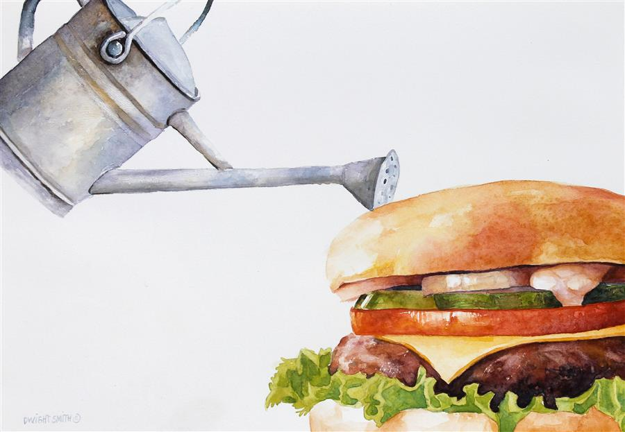 Original art for sale at UGallery.com | Garden Burger by Dwight Smith | $325 | watercolor painting | 7' h x 10' w | ..\art\watercolor-painting-Garden-Burger