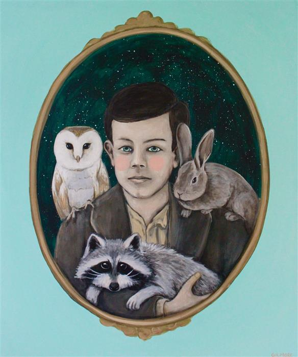 Original art for sale at UGallery.com | A Boy and His Critters by SHAWNA GILMORE | $1,000 | Acrylic painting | 24' h x 20' w | ..\art\acrylic-painting-A-Boy-and-His-Critters