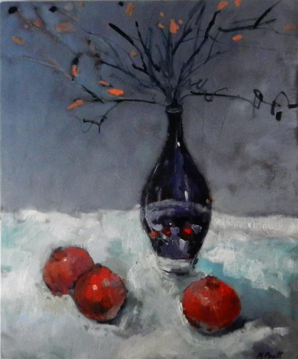 Original art for sale at UGallery.com | Pomegranates with Purple Vase by MARY PRATT | $2,350 | Oil painting | 36' h x 30' w | ..\art\oil-painting-Pomegranates-with-Purple-Vase