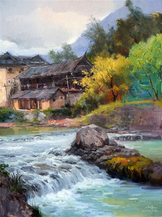 Original art for sale at UGallery.com | Chinese Rural Village 5 by SHENGNAN LI | $900 | Oil painting | 32' h x 24' w | ..\art\oil-painting-Chinese-Rural-Village-5