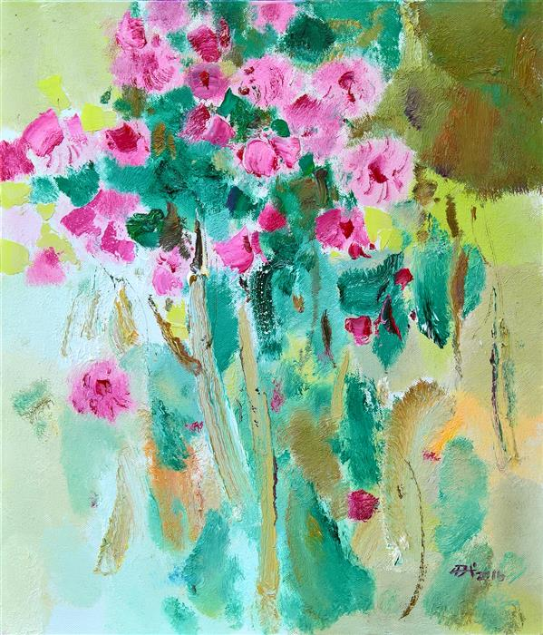 Original art for sale at UGallery.com | Flowers in Vase 3 by YI TIAN | $1,175 | Acrylic painting | 24' h x 20' w | ..\art\acrylic-painting-Flowers-in-Vase-3