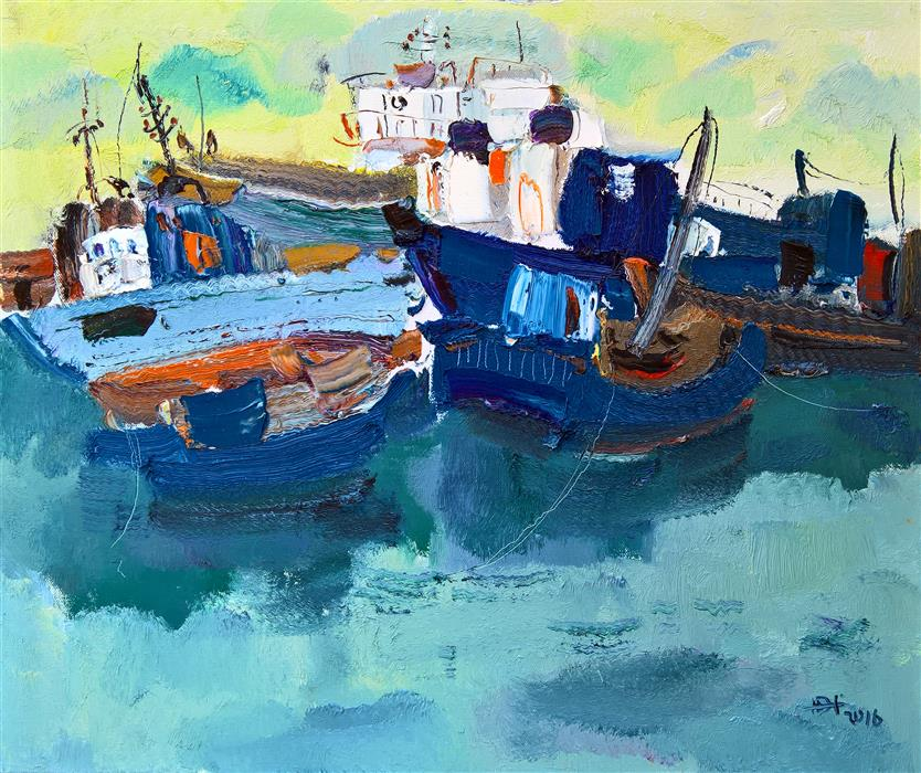 Original art for sale at UGallery.com | Boats in the Port 4 by YI TIAN | $1,350 | Oil painting | 20' h x 24' w | ..\art\oil-painting-Boats-in-the-Port-4