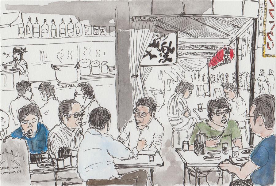 Original art for sale at UGallery.com | Restaurant Shinjuku by ORLANDO MARIN-LOPEZ | $325 |  | 4.5' h x 6.5' w | ..\art\ink-artwork-Restaurant-Shinjuku