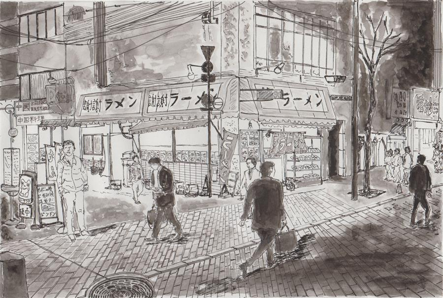 Original art for sale at UGallery.com | Tokyo Street at Night by ORLANDO MARIN-LOPEZ | $400 |  | 6' h x 9' w | ..\art\ink-artwork-Tokyo-Street-at-Night