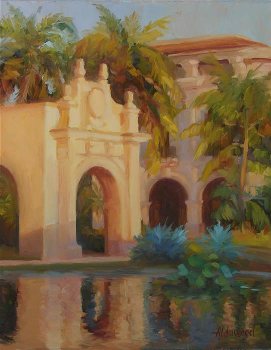 Original art for sale at UGallery.com | San Diego Evening by SHERRI ALDAWOOD | $525 |  | 14' h x 11' w | ..\art\oil-painting-San-Diego-Evening