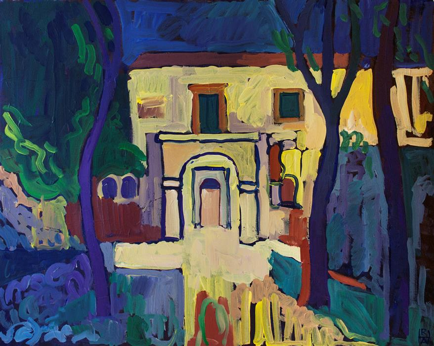 Original art for sale at UGallery.com | Villa by ROBERT HOFHERR | $850 | Acrylic painting | 24' h x 30' w | ..\art\acrylic-painting-Villa