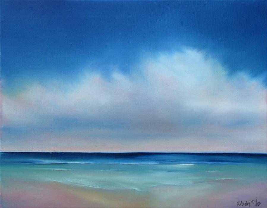 Original art for sale at UGallery.com | Quiet Seaside by NANCY HUGHES MILLER | $700 | Oil painting | 14' h x 18' w | ..\art\oil-painting-Quiet-Seaside