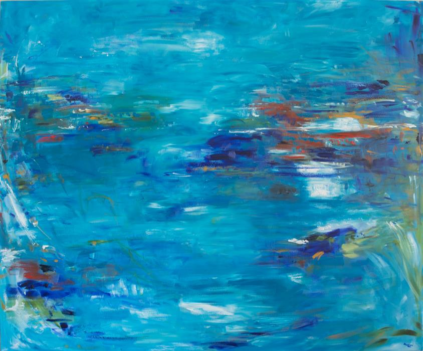 Original art for sale at UGallery.com | Not Just Blue by KAJAL ZAVERI | $8,050 |  | 60' h x 72' w | ..\art\oil-painting-Not-Just-Blue