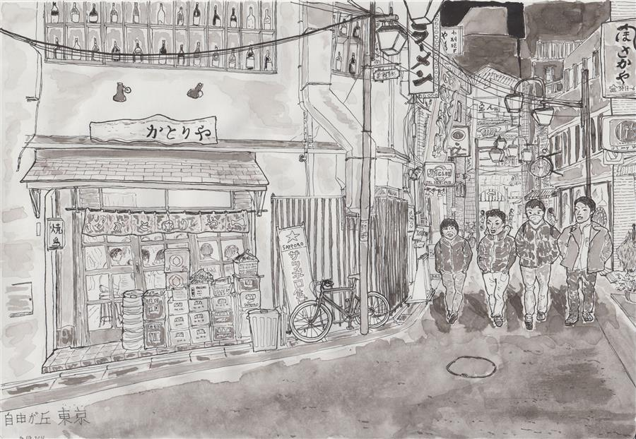Original art for sale at UGallery.com | Boys in the Streets of Tokyo by ORLANDO MARIN-LOPEZ | $600 | Ink artwork | 8.3' h x 11.5' w | ..\art\ink-artwork-Boys-in-the-Streets-of-Tokyo