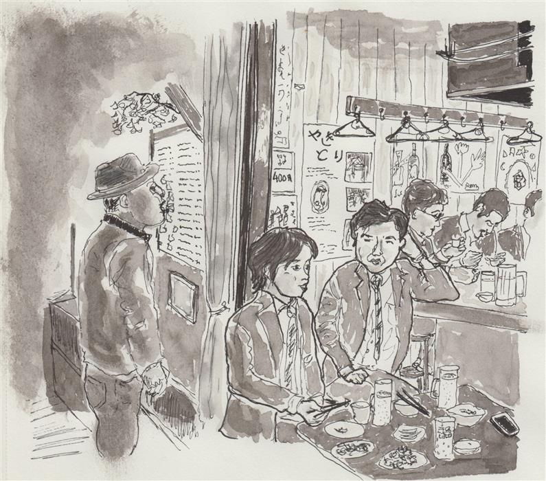Original art for sale at UGallery.com | Restaurant at Night - Tokyo by ORLANDO MARIN-LOPEZ | $300 |  | 5' h x 5.5' w | ..\art\ink-artwork-Restaurant-at-Night-Tokyo